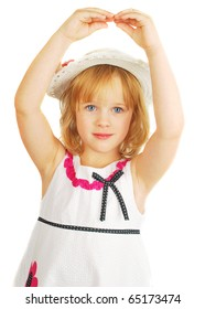 Cute little girl in hat and nice dress  dancing with hands, isolated on the white background portrait, stoodio shoot.
