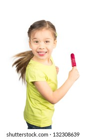 Cute Little Girl Having Fun with Her Icecream, Isolated on White