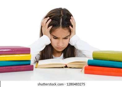 Cute Little Girl Having a Hard Time with Her Homework. Isolated On White Background