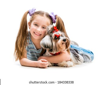 cute little girl is with her dog Yorkshire Terrier isolated on white