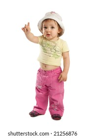 Cute little girl with her  forefinger up, isolated