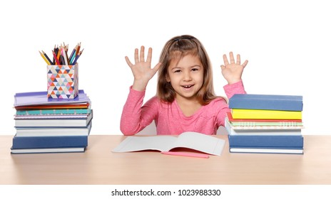 Cute little girl with lot of homework to do against white background