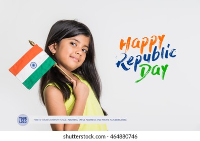 Cute little girl with Indian National Tricolour Flag, Isolated over white background. Suitable for Independence Day or Republic Day concept