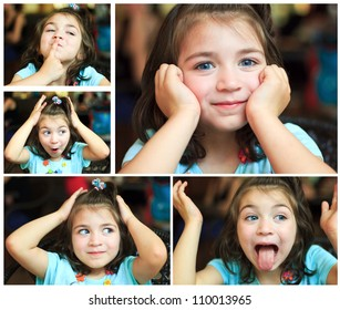 A cute little girl making funny faces
