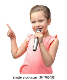 Cute little girl with microphone on white background