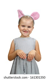 Cute little girl with mouse ears. Portrait isolated on white background