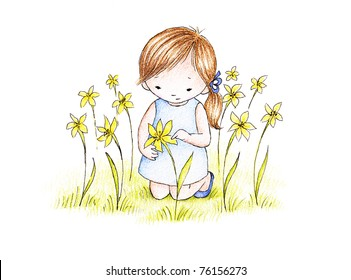 cute little girl on a green lawn with yellow flowers