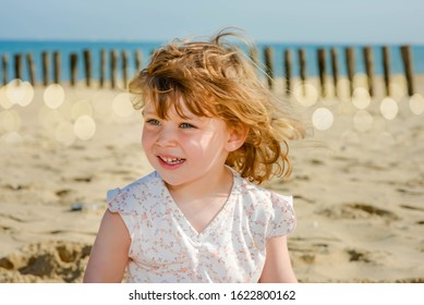 cute little girl on vacation at sea