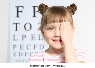 Cute little girl in ophthalmologist's office