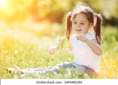 Cute little girl play in the park with leaves and flowers. Beauty nature scene with colorful background at autumn season. Family outdoor lifestyle. Happy girl relax on green grass.