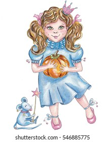 Cute little girl playing in cinderella holding pumpkin in her hands