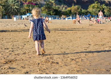 Cute little girl playing on sandy beach and exploring.