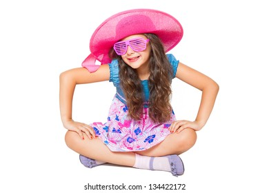 cute little girl posing isolated on white