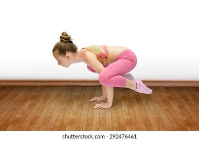 Cute little girl practice yoga