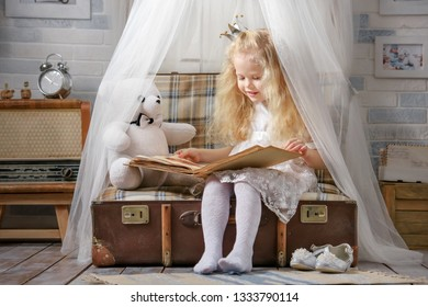 Cute little girl in princess costume reading a book to her toys in the room in the attic