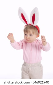 cute little girl with rabbit ears