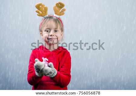 e8da84ca9 Cute Little Girl Red Sweater Horns Stock Photo (Edit Now) 756056878 ...