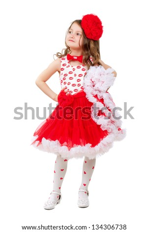 d7af2bf2e74a Royalty-free stock photo ID: 134306738. Cute little girl in red and white  dress with big bow. Isolated - Image