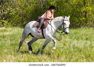 Cute little girl rides white horse breed Orlov trotter