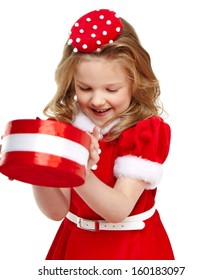 Cute little girl in the santa claus costume