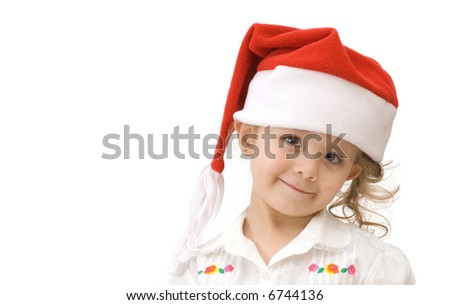 63312a82e Cute Little Girl Santa Hat On Stock Photo (Edit Now) 6744136 ...