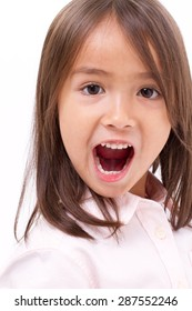 cute little girl shouting, communication, announcing