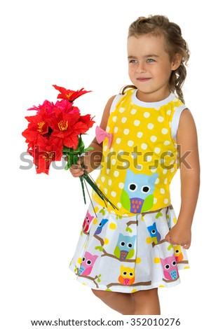 2d4daec632c6a Cute little girl in summer dress with short sleeves . Girl holding a  bouquet of red flowers. Closeup - Isolated on white background - Image