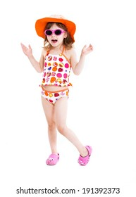 Cute little girl in swimsuit ,sunglasses and sun hat posing isolated on white background
