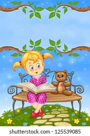 Cute Little Girl with Teddy Bear reading Story Book on Bench in Summer Landscape with Rainbow -Cartoon  Illustration for children