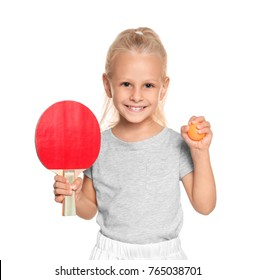 Cute little girl with tennis racket and ball on white background