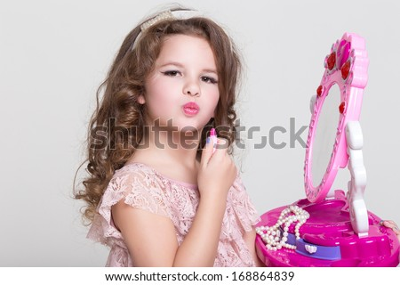 Cute Little Girl Toy Mirror Lipstick Stock Photo Edit Now