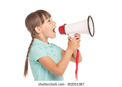 Cute little girl with two braids is isolated on white background. Girl screaming in speakerphone