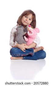 Cute little girl with two teddy
