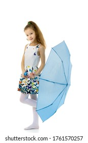 Cute little girl with umbrella. Weather forecast concept.