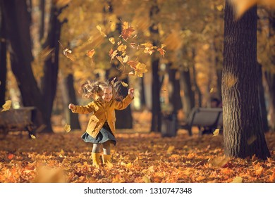 Cute little girl is walking in a beautiful golden autumn park playing with leaves. Image with selective focus and toning.