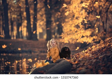 Cute little girl is walking in a beautiful golden autumn park playing with leaves and her dog. Image with selective focus and toning.