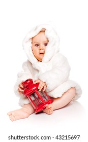 Cute little girl with a warm coat on