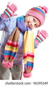 cute little girl in warm hat