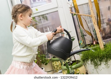 Cute little girl watering plants in her house. Child taking care of plants. Kid with water can.