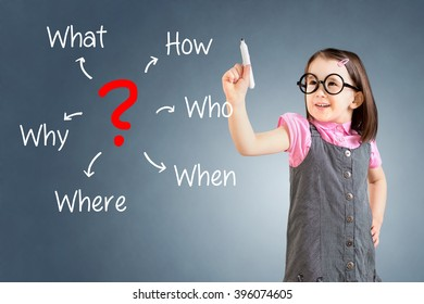 Cute little girl wearing business dress and analyzing problem. Blue background.