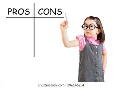 Cute little girl wearing business dress and writing pros and cons comparison concept. White background.