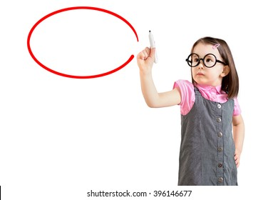 Cute little girl wearing business dress and writing on glass board or working with virtual screen 3. White background.