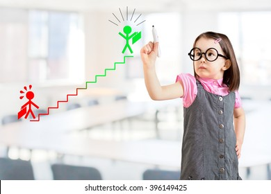 Cute little girl wearing business dress and drawing a career ladder concept. Office background.