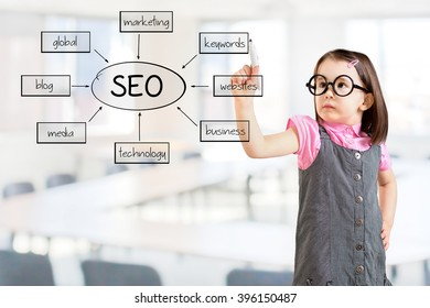 Cute little girl wearing business dress and writing a SEO schema on the whiteboard. Office background.