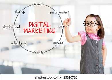 Cute little girl wearing business dress and drawing circular diagram of structure of digital marketing process and elements. Office background.