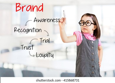 Cute little girl wearing business dress and writing brand loyalty development concept. Office background.