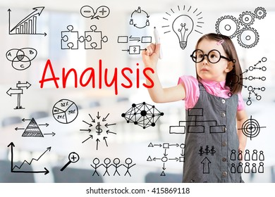 Cute little girl wearing business dress and writing data analysis. Office background.