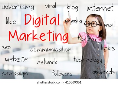 Cute little girl wearing business dress and writing digital marketing concept. Office background.
