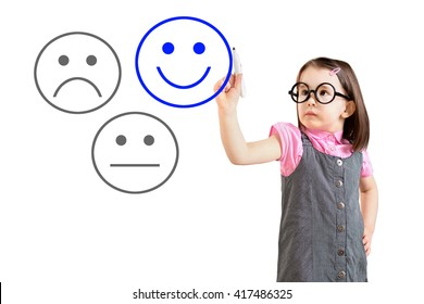 Cute little girl wearing business dress and select happy on satisfaction evaluation. White background.