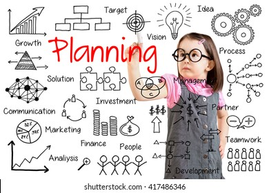 Cute little girl wearing business dress and writing planning concept. White background.